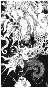 """Dessin """"Création"""" 2007, stylo noir sur papier, 55 x 29,7 cm représentant l'artiste Teddy Ros qui dessine et sort de sa tête des tones de monstres et vagins organiques"""