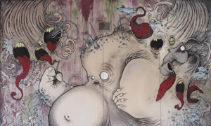 Fresque réaliser par l'artiste Teddy Ros pour la salle le Recyclart à Bruxelles en 2004 au posca et acrylique 1m 80 x 3 m