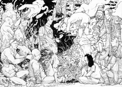 Dessin au stylo noir sur papier de l'artiste Teddy Ros représentant une session d'ayahuasca ou le chaman chante a un patient, toutes les esprits sont visibles