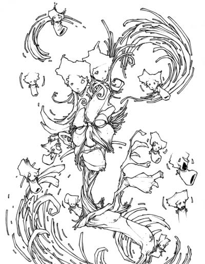 """Dessin """"spirale"""" 2005 stylo noir sur papier 29,7 x 21 cm de Teddy Ros représentant un personnage tout déformer accompagner des petits bonhommes"""