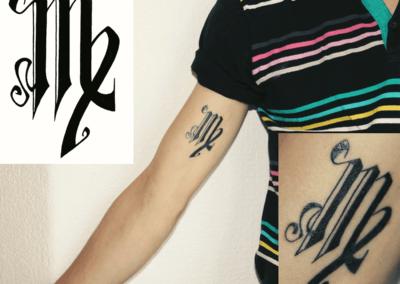 dessin pour tatouage pour Tom, stylo noir, 2012