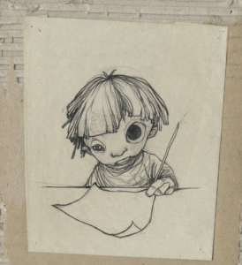 """Champs"" 2003 pencil on paper paste on cardboard, 14 x 12 cm representing a child who draws wide eyes"
