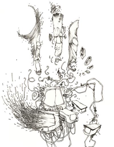 """Dessin """"Trois et pourquoi pas"""" 2007 stylo noir sur papier 29,7 x 21 cm réaliser par Teddy Ros représentant trois visages et des caméras de surveillance"""