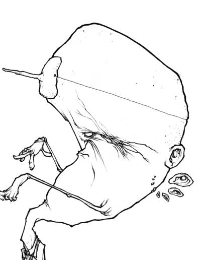"""dessin """"twin peaks"""" 2006 stylo noir sur papier 21 x 21 cm réaliser par Teddy Ros représentant un homme inspirer de la série twin peaks de david Lynch"""