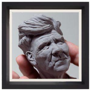 """image dessin de l'icône délicate symbiose du site de Teddy Ros photo de la sculpture """"David lynch"""" 2018 l'original"""