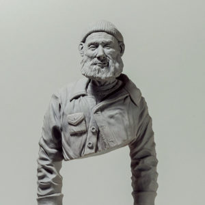"photo de la sculpture ""le pêcheur de JP"" 2018 l'original, supersculpley, réaliser par l'artiste Teddy Ros"
