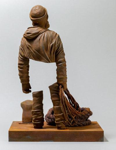 """""""le pêcheur de JP"""" 2018 tirage résine polyuréthane patine oxydation forte"""