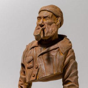 """photo de la sculpture """"le pêcheur de JP"""" 2018 tirage résine polyuréthane patine oxydation forte, réaliser par l'artiste Teddy Ros"""