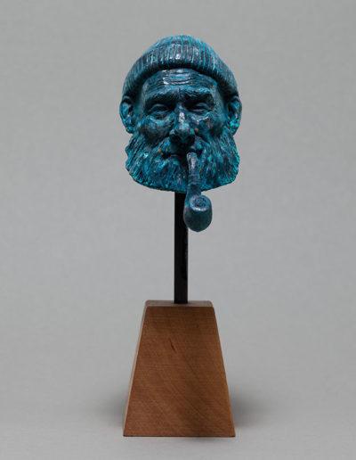"""""""le pêcheur"""" 2018 résine polyuréthane patine bronze bleu"""