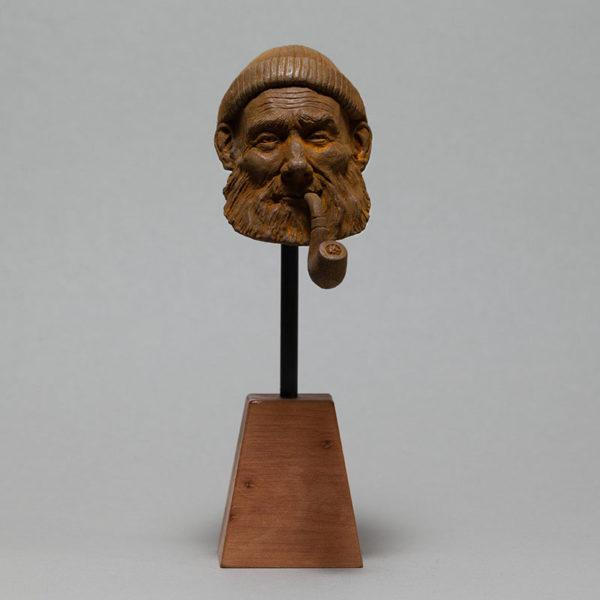 """photo de la sculpture """"le pêcheur"""" patine oxydation forte réaliser par l'artiste Teddy Ros en patte polymère"""