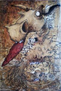 """toiles """"charline"""" réaliser par Teddy ros en 2006 marouflage broux de noix stylo noir et aquarelle"""