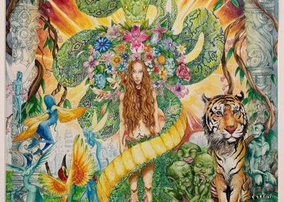 """Dessin """"Aya Diète"""" 2014, Stylo noir et aquarelle sur papier, 55 x 46 cm de l'artiste Teddy Ros Cette œuvre a été réalisée pendant que j'étais en diète d'apprentissage avec la plante maîtresse/médicinale Ayahuasca. Elle représente l'âme cachée de la plante sous ses deux formes les plus communes : le serpent anaconda (symbole de la sagesse et du savoir) et la déesse mère Ayahuasca. On y retrouve son royaume médicinal, la liane de l'Ayahuasca, ses parfums (ici représentés par les fleurs), accompagnées de ses nombreux esprits, notamment les humanoïdes à têtes de tigre (les gardiens de l'ayahuasca), ce sont des personnages asexués mais avec des têtes féminines. Cette œuvre fait référence à l'art visionnaire de Pablo Amaringo ancien chaman Shipibo-conibo qui s'est converti à la peinture chamanique en fin de vie. Ses œuvres représentent également les mondes des plantes médicinales."""