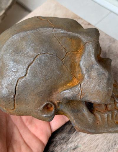 """Photo de la sculpture """"Crâne"""" 2019 tirage résine polyuréthane patine oxydation forte, réaliser par l'artiste Teddy Ros"""