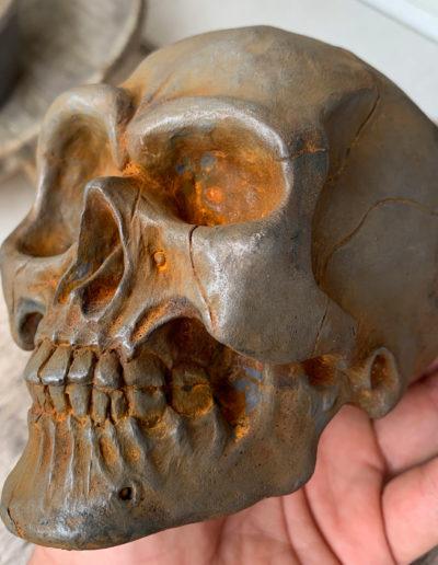 """Crâne"" 2019 tirage résine polyuréthane patine oxydation forte"