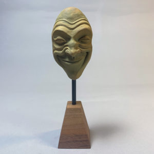"photo of the sculpture ""mask 01"" 2019 the original polymer clay sculpture by Teddy Ros"