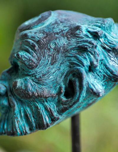 """sculpture """"Gardien"""" 2020, tirage résine bronze bleu."""