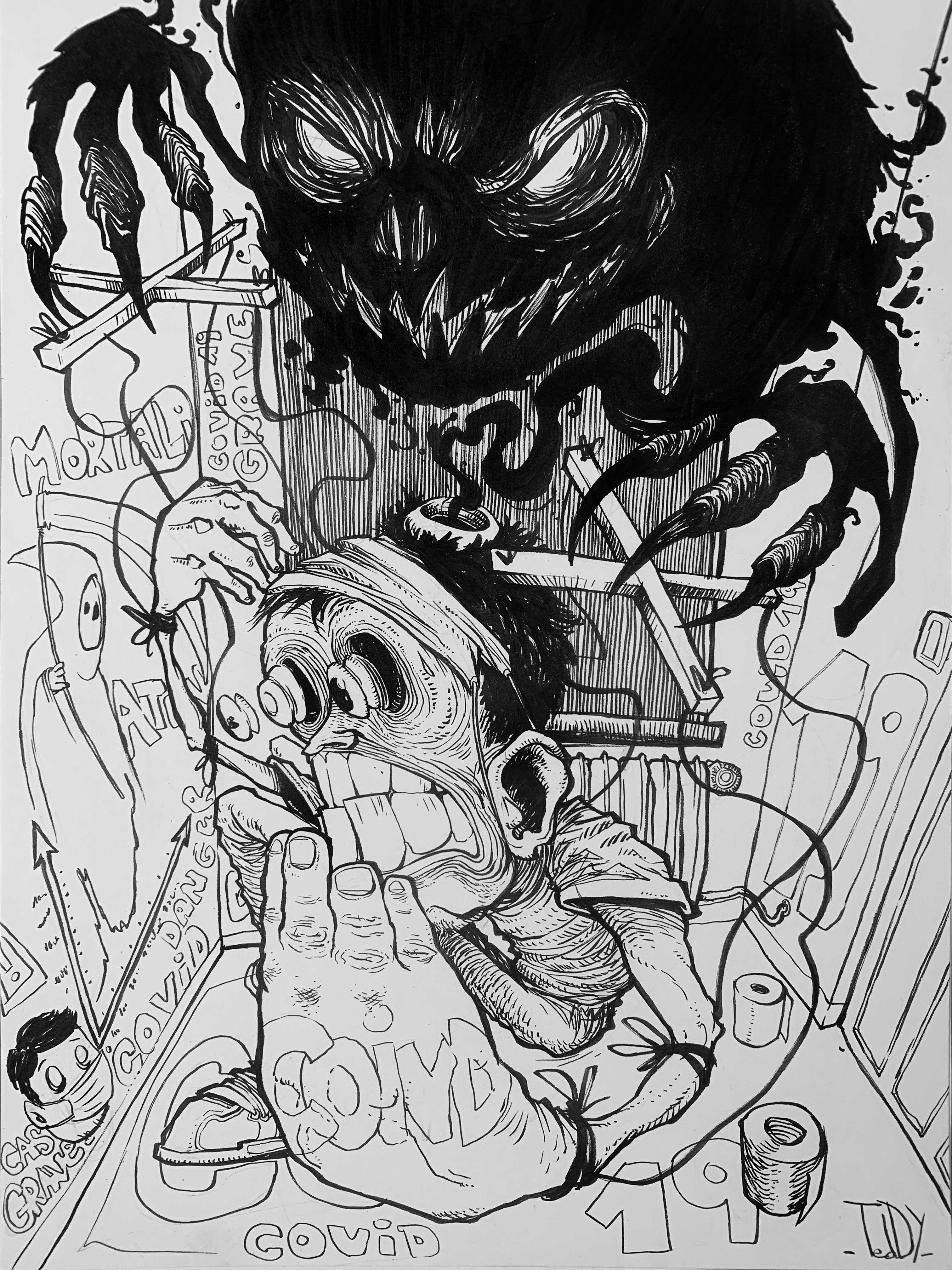 covid-19 2020 stylo noir sur papier 29,7x21 cm par Teddy ros dessin stylo noir blackpen covid 19 caricature