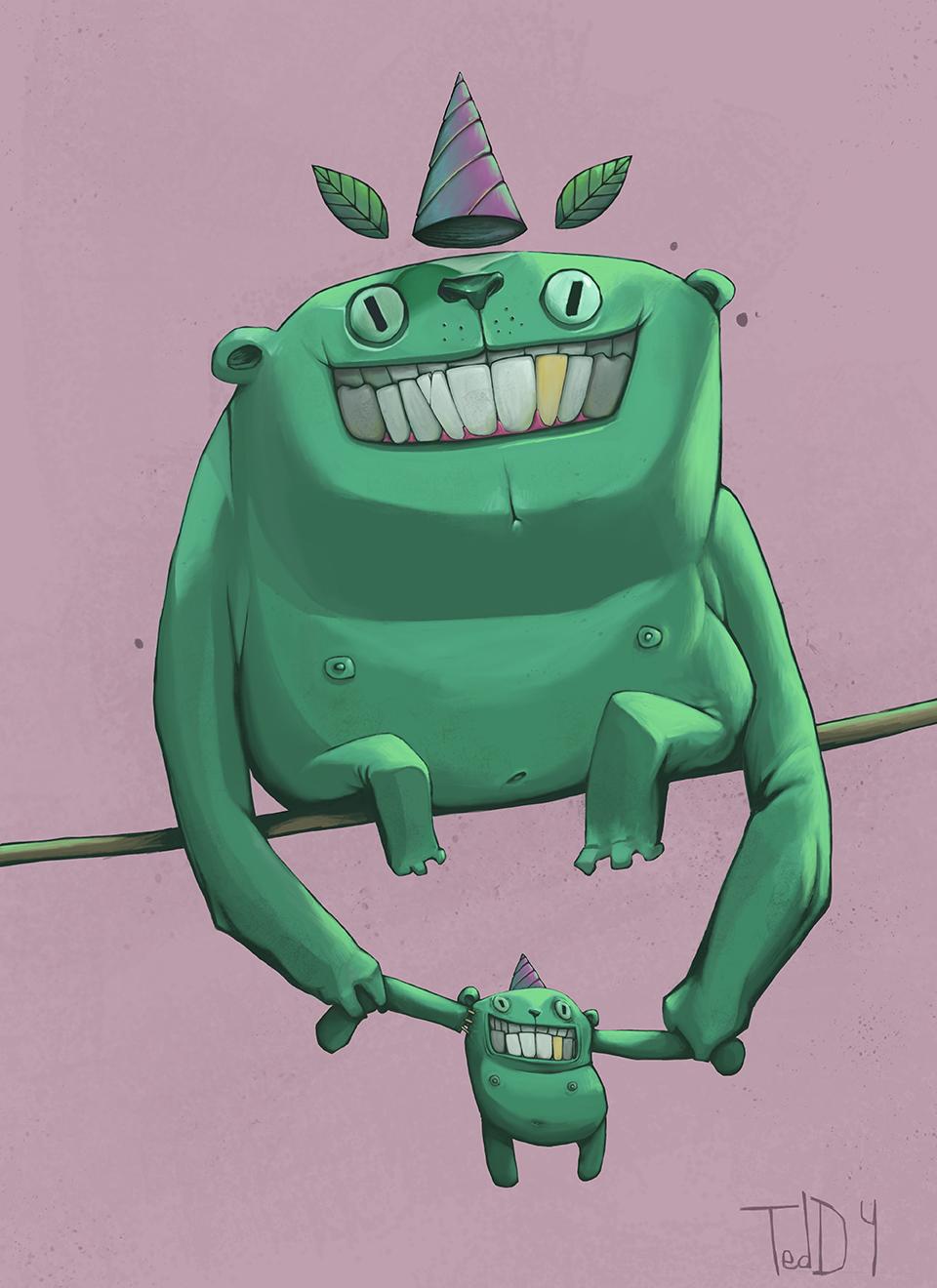 """""""papa green"""" dessins illustration fait en digital painting représentant un singe vert avec sa peluche 2021, dessiné avec procreate sur ipad pro."""