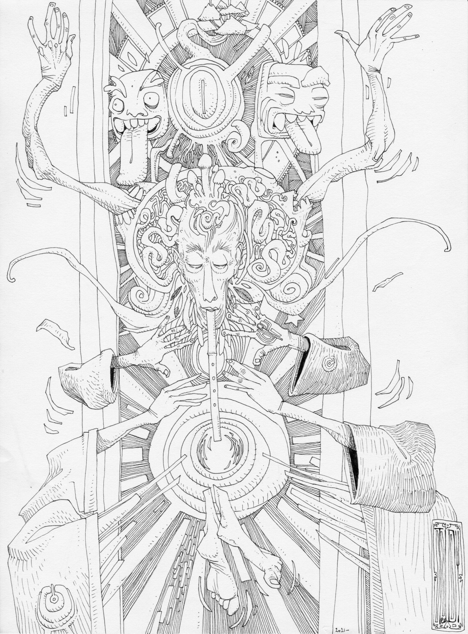 """""""Freskass"""" 2021, dessin au stylo noir sur papier 29,7 x 21 cm"""